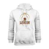 White Fleece Hoodie-Lehigh Basketball Stacked w/Ball
