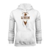 White Fleece Hoodie-Lehigh Lacrosse Stacked w/Stick Head