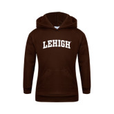 Youth Brown Fleece Hoodie-Arched Lehigh