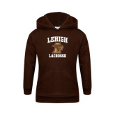 Youth Brown Fleece Hoodie-Lacrosse