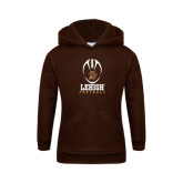 Youth Brown Fleece Hoodie-Lehigh Football Stacked w/Ball