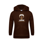 Youth Brown Fleece Hoodie-Lehigh Wrestling Stacked w/Headgear