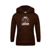 Youth Brown Fleece Hoodie-Lehigh Basketball Stacked w/Ball