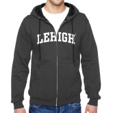 Charcoal Fleece Full Zip Hoodie-Arched Lehigh