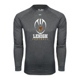Under Armour Carbon Heather Long Sleeve Tech Tee-Lehigh Football Stacked w/Ball