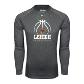 Under Armour Carbon Heather Long Sleeve Tech Tee-Lehigh Basketball Stacked w/Ball