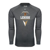 Under Armour Carbon Heather Long Sleeve Tech Tee-Lehigh Lacrosse Stacked w/Stick Head