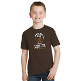 Youth Brown T Shirt-Lehigh Football Stacked w/Ball