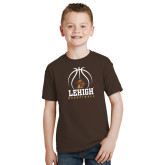 Youth Brown T Shirt-Lehigh Basketball Stacked w/Ball