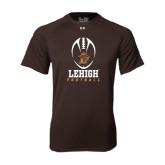 Under Armour Brown Tech Tee-Lehigh Football Stacked w/Ball