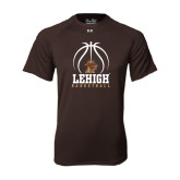 Under Armour Brown Tech Tee-Lehigh Basketball Stacked w/Ball