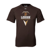 Under Armour Brown Tech Tee-Lehigh Lacrosse Stacked w/Stick Head