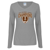 Ladies Grey Long Sleeve V Neck T Shirt-2017 Patriot League Football Champions 2