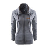 Ladies Sport Wick Stretch Full Zip Charcoal Jacket-Arched Lehigh