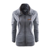 Ladies Sport Wick Stretch Full Zip Charcoal Jacket-Flat Lehigh