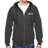 Charcoal Fleece Full Zip Hoodie-Arched Lehigh