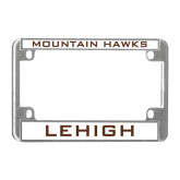 Metal Motorcycle License Plate Frame in Chrome-Mountain Hawks