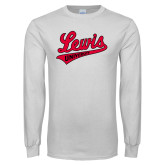 White Long Sleeve T Shirt-Lewis University Athletics Script