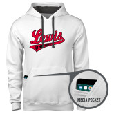 Contemporary Sofspun White Hoodie-Lewis University Athletics Script