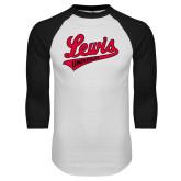 White/Black Raglan Baseball T-Shirt-Lewis University Athletics Script