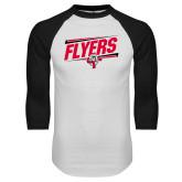 White/Black Raglan Baseball T-Shirt-Lewis Slanted w/ Logo