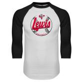 White/Black Raglan Baseball T-Shirt-Lewis Softball Script and Seams