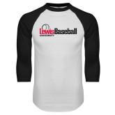 White/Black Raglan Baseball T-Shirt-Lewis Baseball