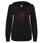 ENZA Ladies Black V Notch Raw Edge Fleece Hoodie-Flyer Red Glitter