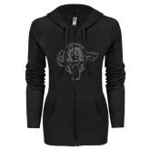 ENZA Ladies Black Light Weight Fleece Full Zip Hoodie-Flyer Graphite Glitter