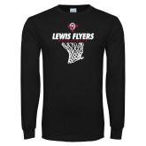 Black Long Sleeve TShirt-Lewis Flyers Basketball w/ Hanging Net