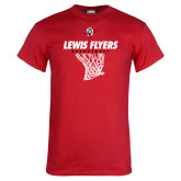 Red T Shirt-Lewis Flyers Basketball w/ Hanging Net