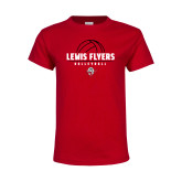 Youth Red T Shirt-Lewis Flyers Volleyball Stacked