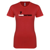 Next Level Ladies SoftStyle Junior Fitted Red Tee-Lewis Lacrosse