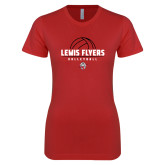 Next Level Ladies SoftStyle Junior Fitted Red Tee-Lewis Flyers Volleyball Stacked