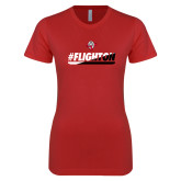 Next Level Ladies SoftStyle Junior Fitted Red Tee-#FlightOn