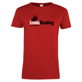 Ladies Red T Shirt-Lewis Bowling
