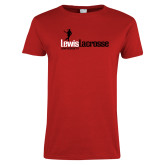 Ladies Red T Shirt-Lewis Lacrosse
