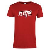 Ladies Red T Shirt-Lewis Slanted w/ Logo