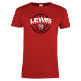 Ladies Red T Shirt-Lewis Basketball Arched w/ Ball