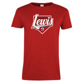 Ladies Red T Shirt-Lewis Baseball Script w/ Plate