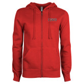ENZA Ladies Red Fleece Full Zip Hoodie-Lewis