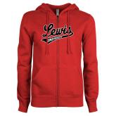 ENZA Ladies Red Fleece Full Zip Hoodie-Lewis University Athletics Script