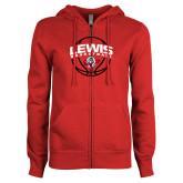 ENZA Ladies Red Fleece Full Zip Hoodie-Lewis Basketball Arched w/ Ball