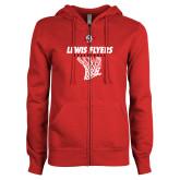 ENZA Ladies Red Fleece Full Zip Hoodie-Lewis Flyers Basketball w/ Hanging Net