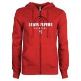 ENZA Ladies Red Fleece Full Zip Hoodie-Lewis Flyers Volleyball Stacked