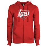 ENZA Ladies Red Fleece Full Zip Hoodie-Lewis Baseball Script w/ Plate