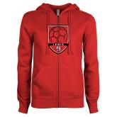 ENZA Ladies Red Fleece Full Zip Hoodie-Lewis Soccer Shield