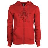 ENZA Ladies Red Fleece Full Zip Hoodie-Flyer Red Glitter