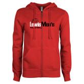 ENZA Ladies Red Fleece Full Zip Hoodie-Mens Volleyball