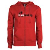 ENZA Ladies Red Fleece Full Zip Hoodie-Lewis Bowling